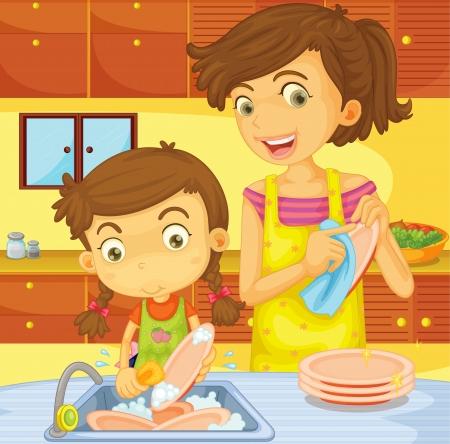 mum and daughter: Illustrazione del concetto di aiutare a casa