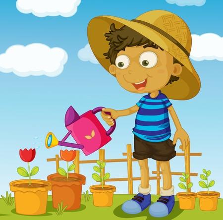 regar las plantas: Ilustración de ayudar al concepto de hogar Vectores