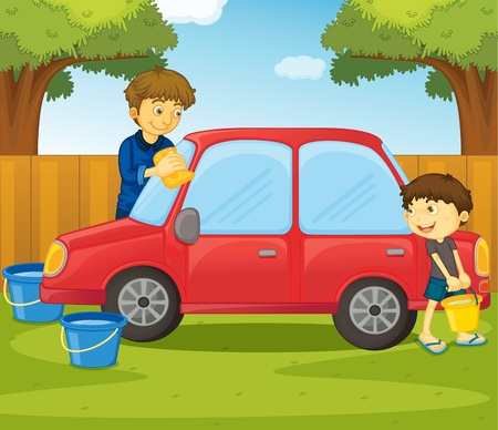 onderhoud auto: Illustratie van het helpen van thuis begrip