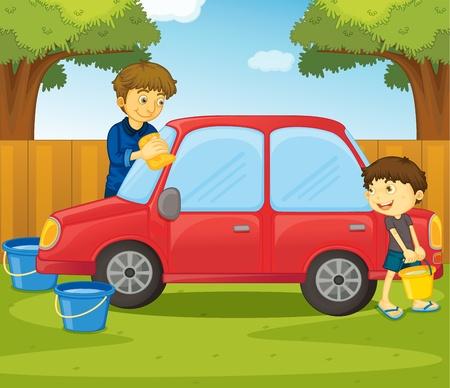 ni�os ayudando: Ilustraci�n de ayudar al concepto de hogar Vectores