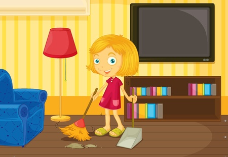 Illustration of helping at home concept Vector