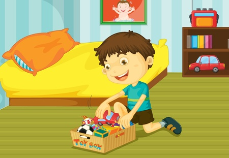 boys toys: Illustration of helping at home concept Illustration