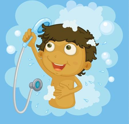 Illustrazione di un ragazzo la doccia Vettoriali