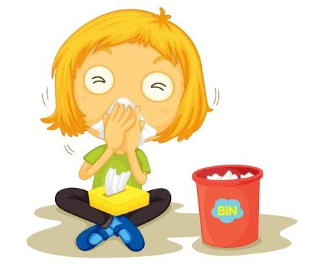 gripe: Ilustración de una niña enferma