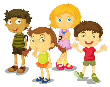 Group of children: Illustration of 4 friends isolated Illustration