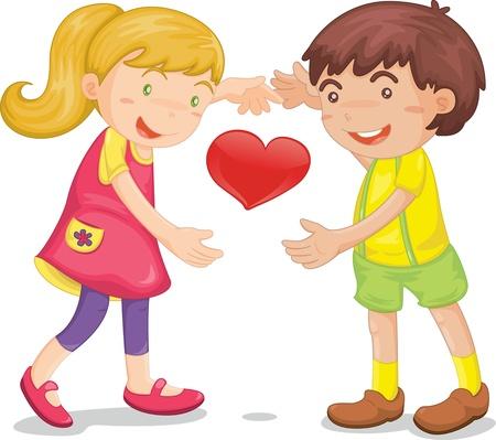 Illustration d'un des enfants avec le c?ur sur fond blanc