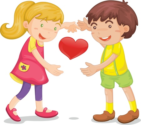 Illustration of  a kids with heart on white Vector