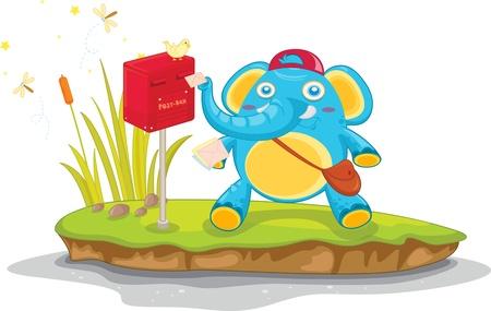 Illustration of  a elephant on island