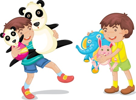 two children: Illustration of  a boy with animal toys on white Illustration
