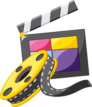 a cartoon film: illustration of clap and film on white