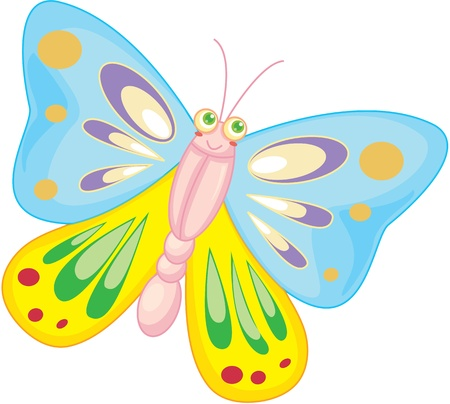 mariposa caricatura: ilustración de la mariposa en blanco Vectores
