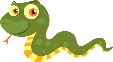 Natter: Illustration der gr�nen Schlange auf wei�
