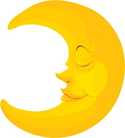 noche y luna: ilustraci�n de la luna en blanco