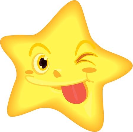 winking: illustration of star on white Illustration