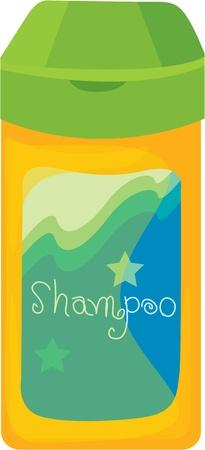 shampoo: illustration of shampoo bottle on white