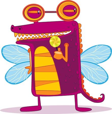 mosca caricatura: Ilustración de un personaje de dibujos animados en blanco