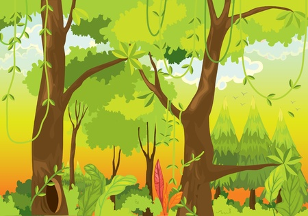 jungle cartoon: Ilustraci�n de un bosque Vectores