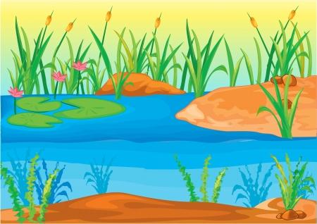 river rock: Illustration of  a landscape