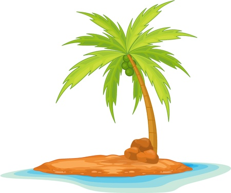 illustration of coconut tree on island Stock Vector - 13131532