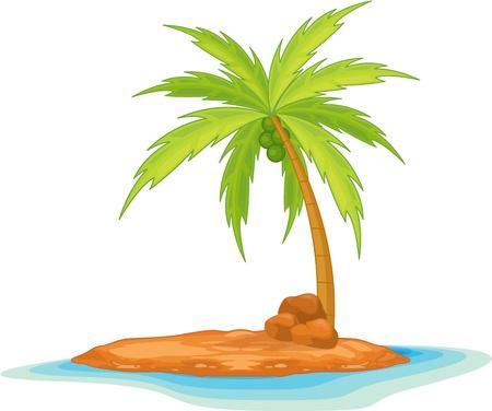 illustration of coconut tree on island Stock Vector - 13131532
