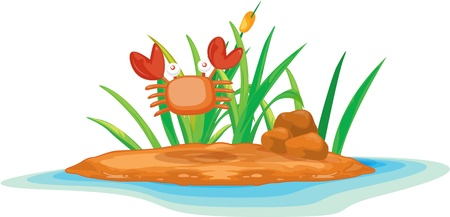 illustration of a crab on island Stock Vector - 13122217