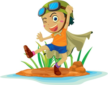 river rock: illustration of a boy on island Illustration