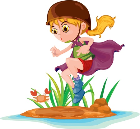 Illustration of  a girl with tray on white Vector