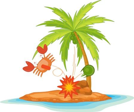 illustration crab  on island Stock Vector - 13131523