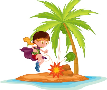 illustration of girl on a island  Vector