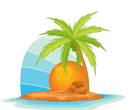 Illustration of  a coconut tree on island  Vector