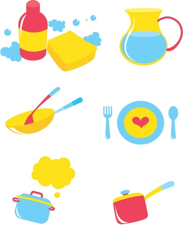 water jug: illustration of various objects on white