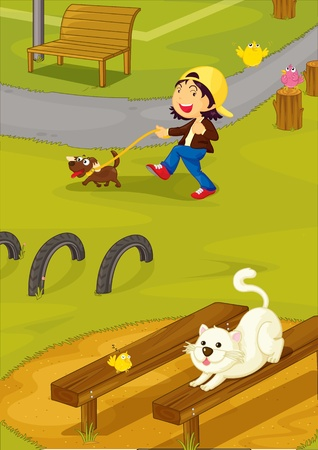 illustration of girl with animals Vector