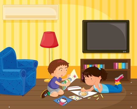 illustration of kid in a room Stock Vector - 13131882