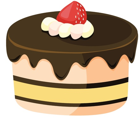 clipart style cartoon of a cake