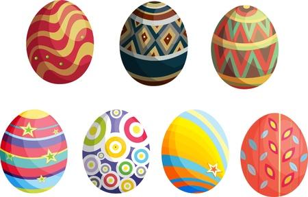 ester: illustration of  decorative eggs on white