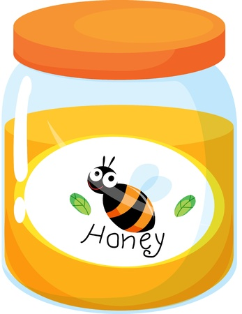 illustration of honey bottle on white