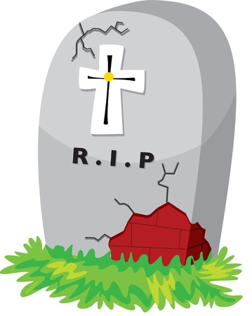 illustration of grave stone on white