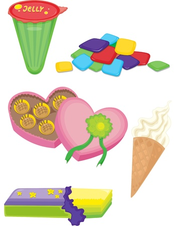 gummy: illustration of various objects on white