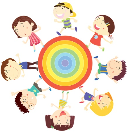 children circle: illustration of kids on white Illustration