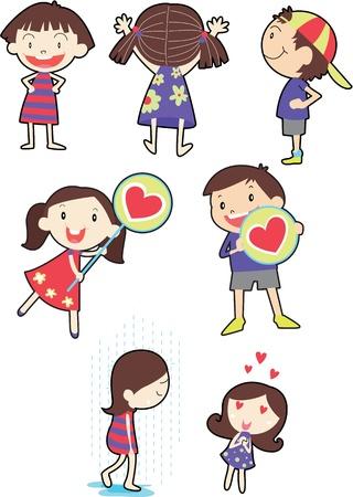 niño y niña: ilustración de los niños en blanco