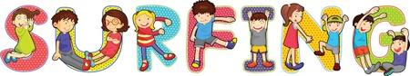 s alphabet: illustration of cartoon alphabets on white Illustration