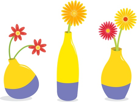 Illustration of three flower pots on white Vector