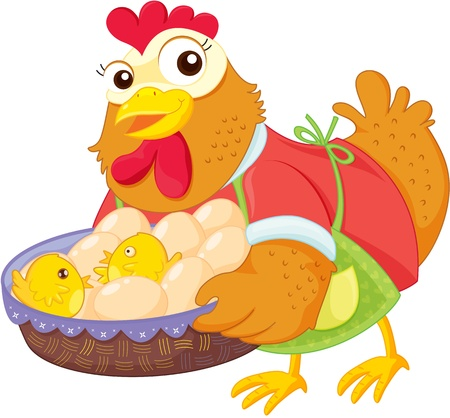 Illustration of  a cartoon hen on white Stock Vector - 13133355