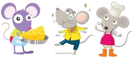 ratte cartoon: Illustration eines drei Cartoon-M�use auf Wei�