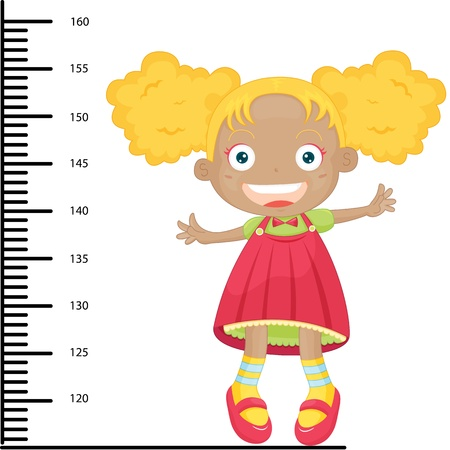 measure height: Illustration of  a girl on white Illustration