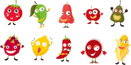 Illustration of  a cartoon fruits and vegetables Vector
