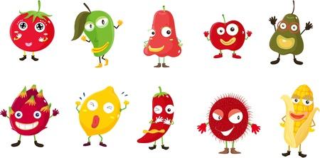 rambutan: Illustration of  a cartoon fruits and vegetables