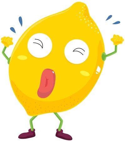 limon caricatura: ilustración de limón en blanco
