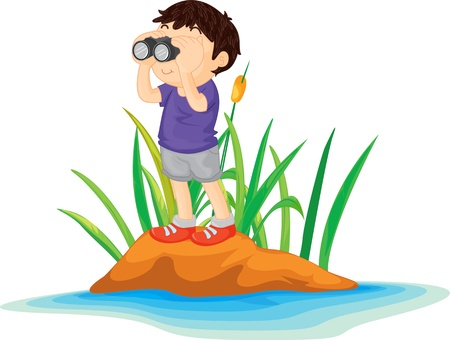 Illustration of  boy on island  Vector