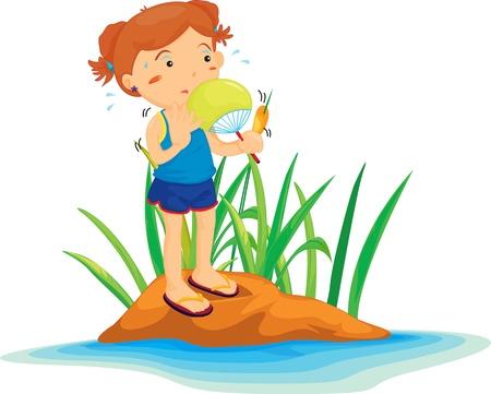 plant stand: Illustration of  girl on island  Illustration